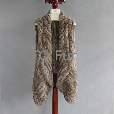 Real Rabbit Fur Vest Knitted Thick Fur Long Collar Gilet With Top Quality