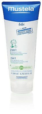 Mustela Bebe 2 in 1 Hair And Body Wash Baby Cleansing Gel 200ml 6.76oz EXP-2018