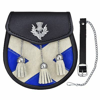 Semi Dress Sporran Calf Skin Sporran Leather With Saltire And Thistle Design