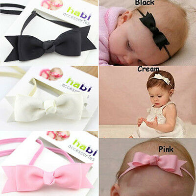 7x Baby Girl Infant Hair Bow Ribbon Headband Hairband Elastic Hair Band Headwear