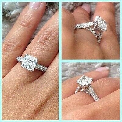 2.80ct Hand Crafted Cushion Cut Micro Pave Natural Diamond Engagement Ring GIA