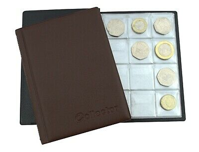 Collector COIN ALBUM for 96 coins A-Z 10p pence 50p £1 ‎Folder Book BROWN /BR3