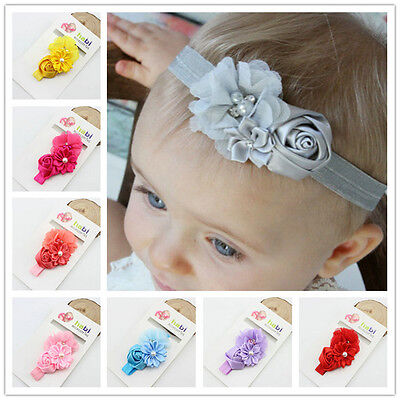10pc Baby Girl Hairband Pearl Flower Hairband Elastic Headband Hair Accessories