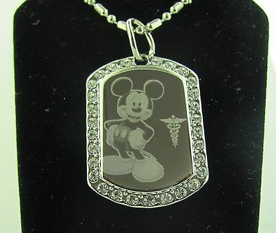 Mickey Mouse With Medical Alert Logo Cute Cz Pendant Necklace And A Chain