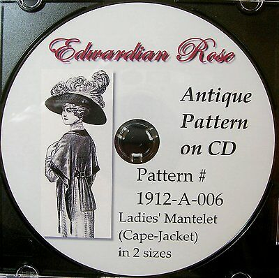 Antique Pattern on CD~ Elegant 1912 Edwardian Cape-Jacket DUAL Sz-Sm/Med & L/XL