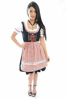 "DIRNDL Trachten German Oktoberfest Bavarian DRESS 3-Piece Tracht Red ""SUNNY"""