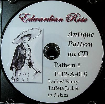 Antique Pattern on CD~ 1912 Edwardian Taffeta Jacket in MULTI-Size (S/M/L)