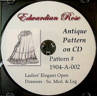 Antique Pattern on CD~ 1904 Edwardian Drawers/Bloomers~Size MED to LARGE