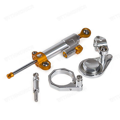 Steering Damper & Bracket Kit For Suzuki GSXR1000 K7 K8 GSXR600/750 06-10 Silver