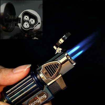 1 Triple Jet Windproof Torch Flame Gas Lighter  Butane For Cigar Cigarette Rare
