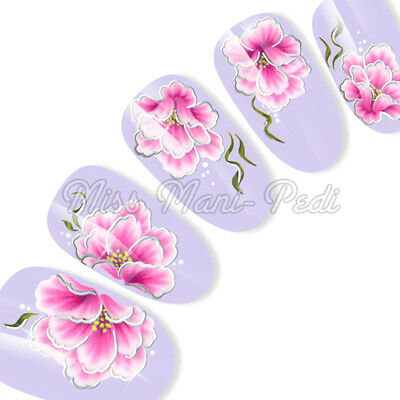 Gold or Silver Nail Art Water Decals Transfers Stickers Pink Oriental Flowers