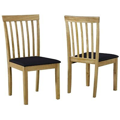 Pair of Solid Oak Black Dining Chairs