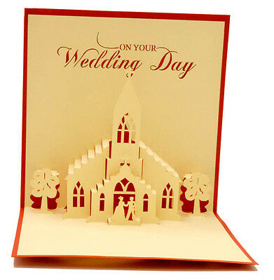 Wedding Church - Handmade 3D pop up greeting / gift card - 12x12 cm