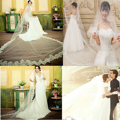 1.5/2M Tulle White Lace Edge Embroidered Wedding Bridal Cathedral Veils Mantilla