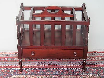 Vintage Chippendale Style Canterbury With Drawer