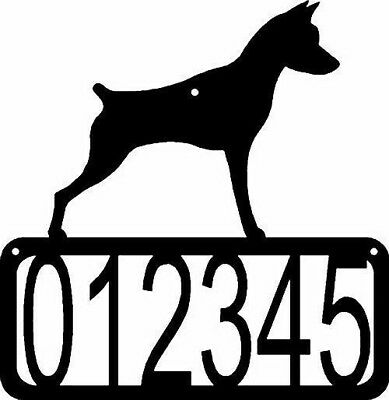 Miniature Pinscher Dog CUSTOM Personalized Metal Wall ADDRESS House Number Sign