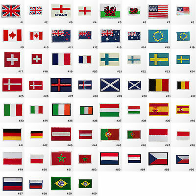#2900R Small Tiny Nation Country Flag Embroidered Sew Iron on Patch Badge Hotfix