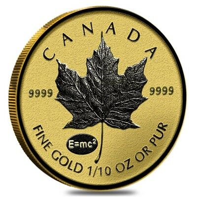 2015 1/10 oz Gold Canadian Maple Leaf E=mc2 Privy Reverse Proof $5 Coin (Sealed)