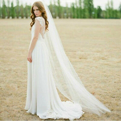 New Tulle Beige White 1T 2M Wedding Prom Bridal Long Veil Cathedral With Comb