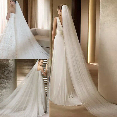 New White 2T 3M Cathedral Bridal Wedding Long Veil With Comb Church Floor Length