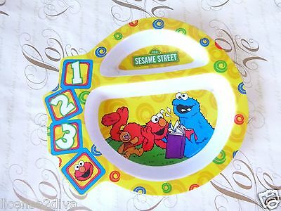Sesame Street Childs Divided Plate! Pre-Owned! Free Ship! Cookie Monster! Elmo!