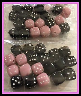20 x Pink & Black Mixed Dice Space Beads