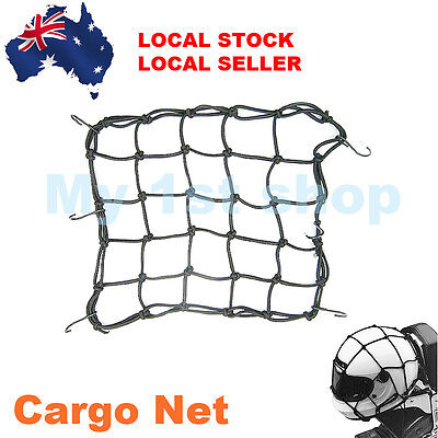 Universal Motorcycle Hold Down Helmet Cargo Luggage Mesh Net Bungee 6 Hook 40x40