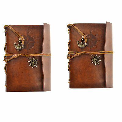 2X Vintage Faux Leather Cover Notebook Journal Diary Blank String Nautical Brown