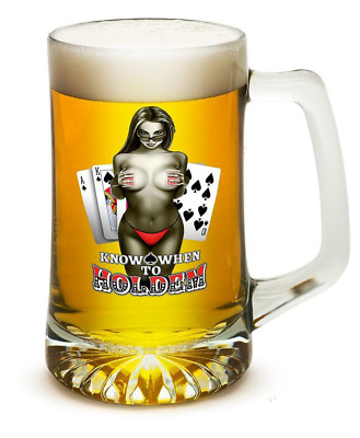 Know When To Hold Them Poker Cards - Set of 2 Large Tankards 25oz Drinkware