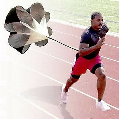 Running Power Chute Speed Training Resistance Exercise Parachute Black CC