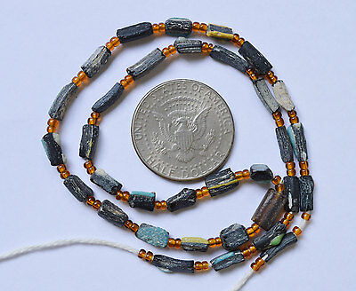 Ancient Roman Glass Beads 1 Strand Aqua Yellow Black And Green 100-200 Bc 0435