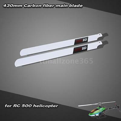 Carbon Fiber 430mm Main Blades for RC 500 Helicopter White Hot R0PH