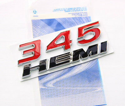 OEM 345 HEMI Emblem Badge decal 3D for Dodge Challenger Chrysle Glossy  RED FFU