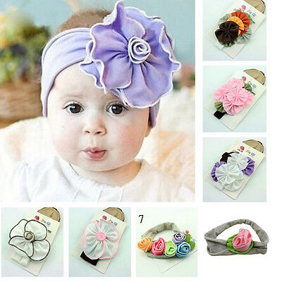 Newborn Baby Kid Girl Elastic Flower Headband Bow Headwear Hair Band Accessories