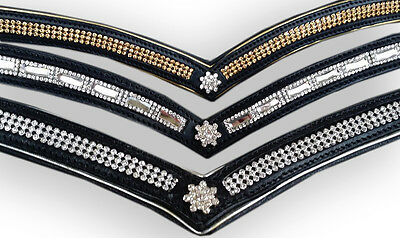V browband GOLD, SILVER or MIRROR cob full warmblood leather show bling