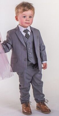 Boys Suits Boys Grey 5pc Suit Baby Boys Wedding Page Boy Waistcoat Party Suit