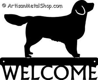 """Dog Silhouette Metal Art Welcome Sign Wall Plaque 12"""" - Breed Golden Retriever"""
