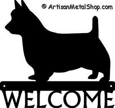 "Dog Silhouette Metal Art Welcome Sign Wall Plaque 12"" - Breed Australian Terrier"