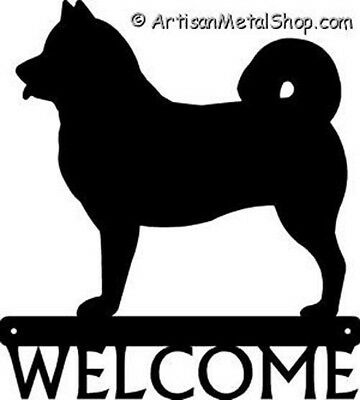 """Dog Silhouette Metal Art Welcome Sign Wall Plaque 12"""" - Breed Alaskan Malamute"""