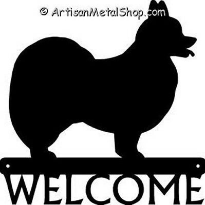 "Dog Silhouette Metal Art Welcome Sign Wall Plaque 12"" - Breed Papillon"