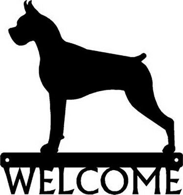"""Dog Silhouette Metal Art Welcome Sign Wall Plaque 12"""" - Breed Boxer"""