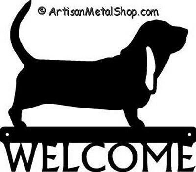 """Dog Silhouette Metal Art Welcome Sign Wall Plaque 12"""" - Breed Bassett Hound"""