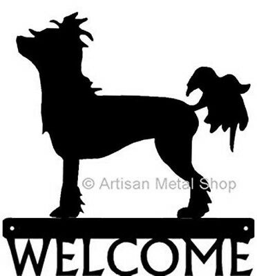 "Dog Silhouette Metal Art Welcome Sign Wall Plaque 12"" - Breed CHINESE CRESTED"