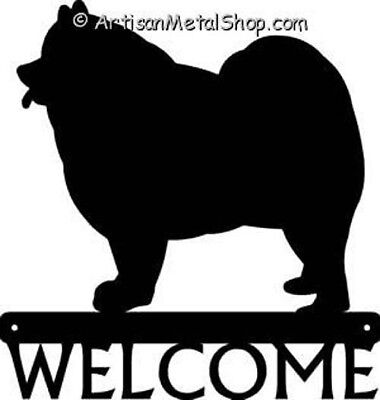 "Dog Silhouette Metal Art Welcome Sign Wall Plaque 12"" - Breed Samoyed"