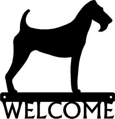 "Dog Silhouette Metal Art Welcome Sign Wall Plaque 12"" - Breed IRISH TERRIER"