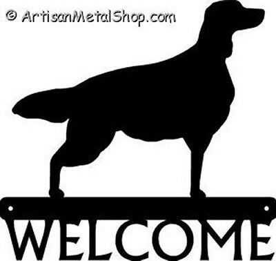 "Dog Silhouette Metal Art Welcome Sign Wall Plaque 12"" - Breed IRISH SETTER"
