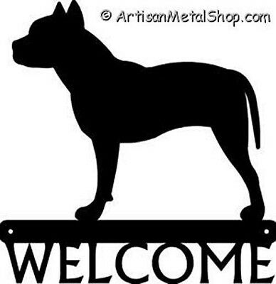 "Dog Silhouette Metal Art Welcome Sign Wall Plaque 12"" - Breed Pit Bull Terrier"
