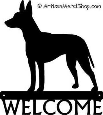 """Dog Silhouette Metal Art Welcome Sign Wall Plaque 12"""" - Breed Manchester Terrier"""