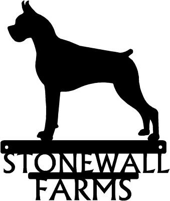 """Dog Silhouette Metal Art Custom TWO Name Sign Wall Plaque 12"""" -150 Breed Choices"""