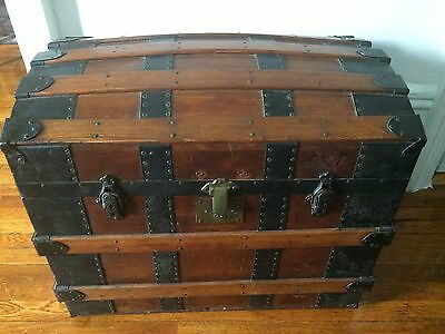 Antique Dome Trunk Victorian Steamer Chest Wood Metal **may 1870**